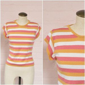 90s does 70s cozy pink & orange striped sweater
